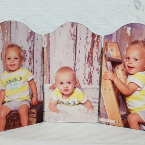 Drie luik met foto boogvorm