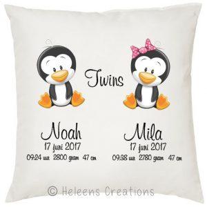 Geboortekussen met naam tweeling pinguin