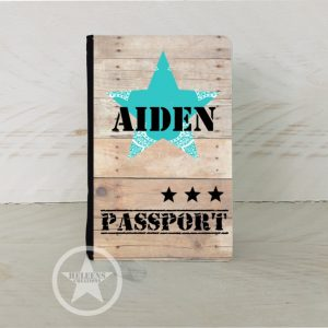 Paspoort hoes blauwe ster en naam