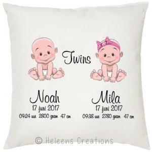 Geboortekussen tweeling jongen en meisje