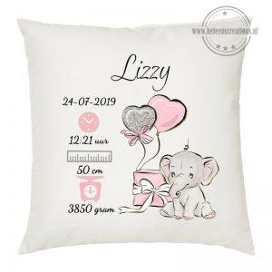 Geboortekussen met naam schattig olifantje met cadeau