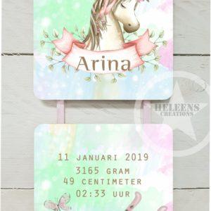 Geboortebord unicorn