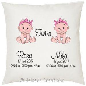 Geboortekussen tweeling meisjes