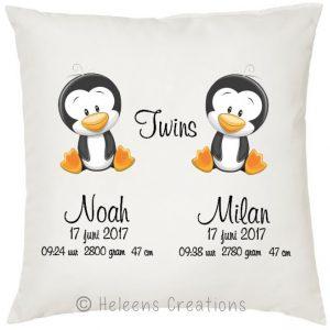 Geboortekussen tweeling jongens pinguin