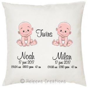 Geboortekussen met naam tweeling jongens