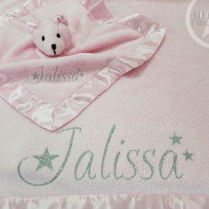 Babydekentje en knuffeldoekje roze
