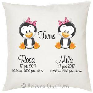 Geboortekussen tweeling meisjes pinguin