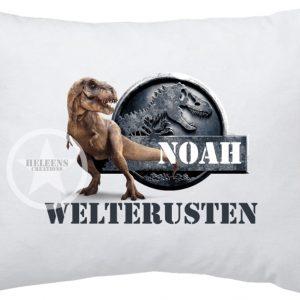 Hoofdkussen dinosaurus met naam