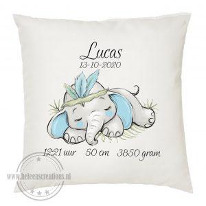 geboortekussen met naam slapend olifantje jongen