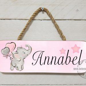 naambord kinderkamer olifant ballon meisje