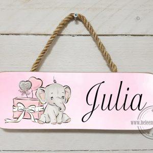 naambord kinderkamer olifant cadeau meisje