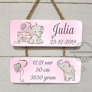 geboortebord olifantje met cadeau meisje