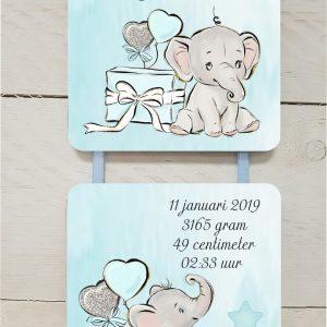 geboortebord olifantje cadeau jongen