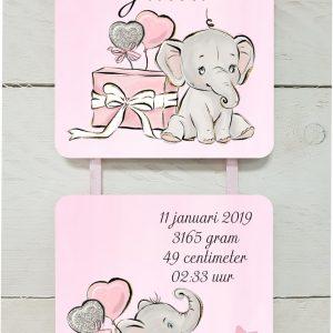 geboortebord olifantje cadeau meisje