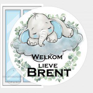 Raamsticker geboorte olifantje op wolk jongen