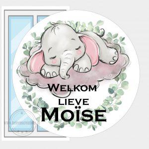 Raamsticker geboorte olifant wolk meisje