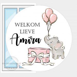 Raamsticker geboorte olifantje ballon meisje