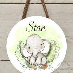 Naambord kinderkamer jungle olifant jongen