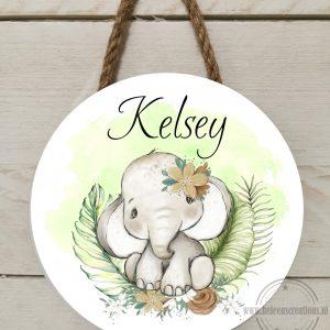 Naambord kinderkamer jungle olifant meisje