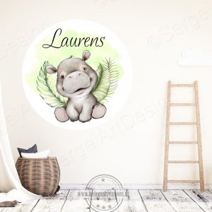 Muursticker jungle nijlpaard jongen