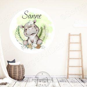 Muursticker jungle nijlpaard meisje