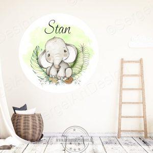 Muursticker jungle olifant jongen