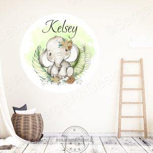 Muursticker jungle olifant meisje