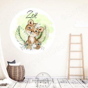 Muursticker jungle tijger meisje
