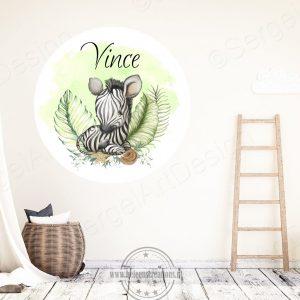 Muursticker jungle zebra jongen