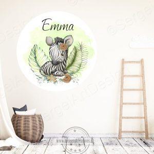 Muursticker jungle zebra meisje