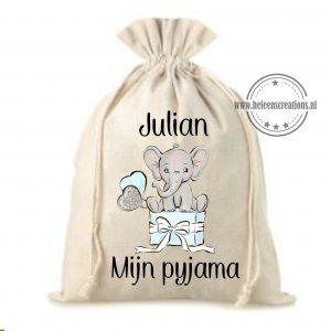 Pyjamazak olifant met cadeau jongen