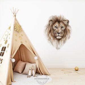 Muursticker safari leeuw