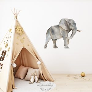 Muursticker safari olifant