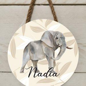 Naambord safari olifant
